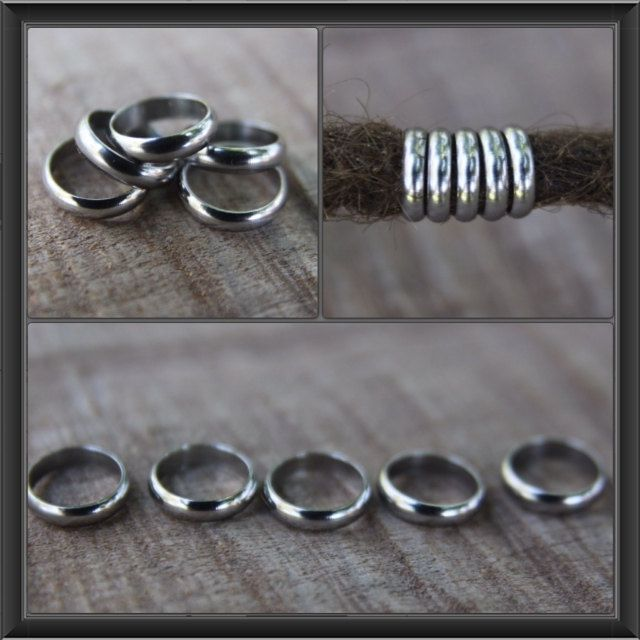 10 Stainless Steel Rings DREADLOCK BEADS 8mm Hole Dread #mountaindreads www.mountaindreads.com