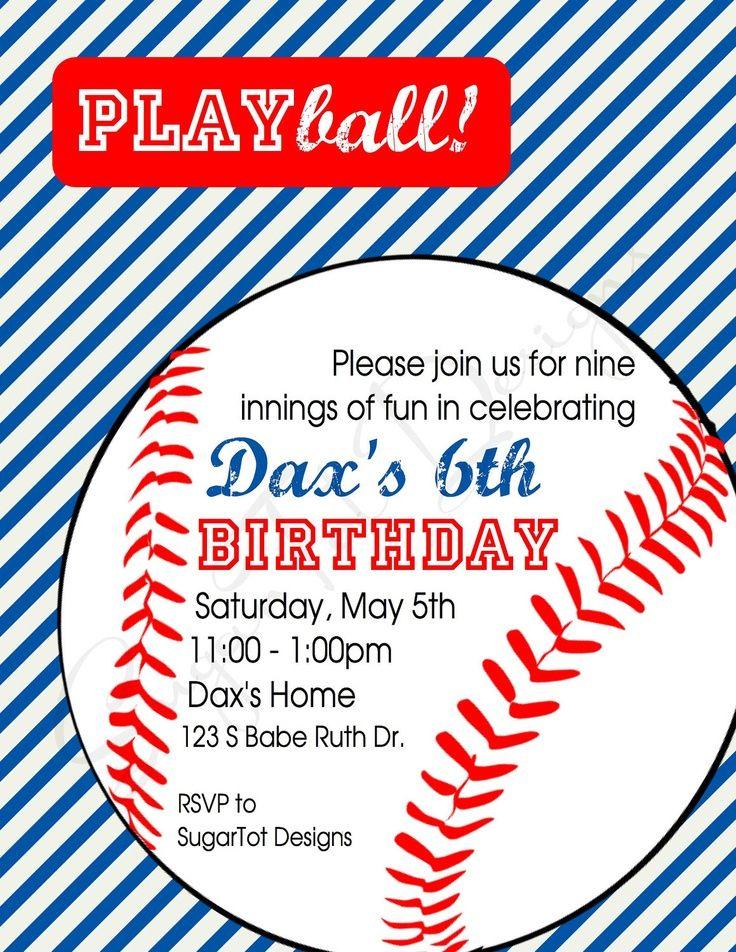 baseball birthday party invitations for