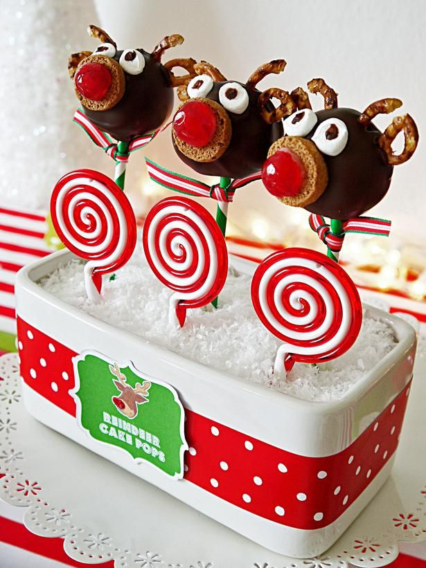 Rudolf Cake Pops. See how: http://www.hgtv.com/entertaining/host-a-rudolph-themed-fondue-party-this-christmas/pictures/page-11.html?soc=pinterest