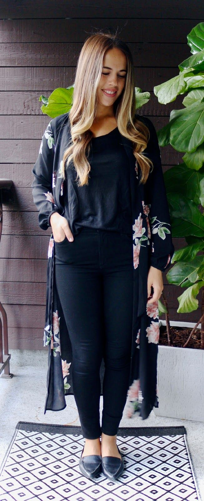 33bbf9eb867 Jules in Flats - All Black Kimono Outfit (Business Casual Fall Workwear on  a Budget)