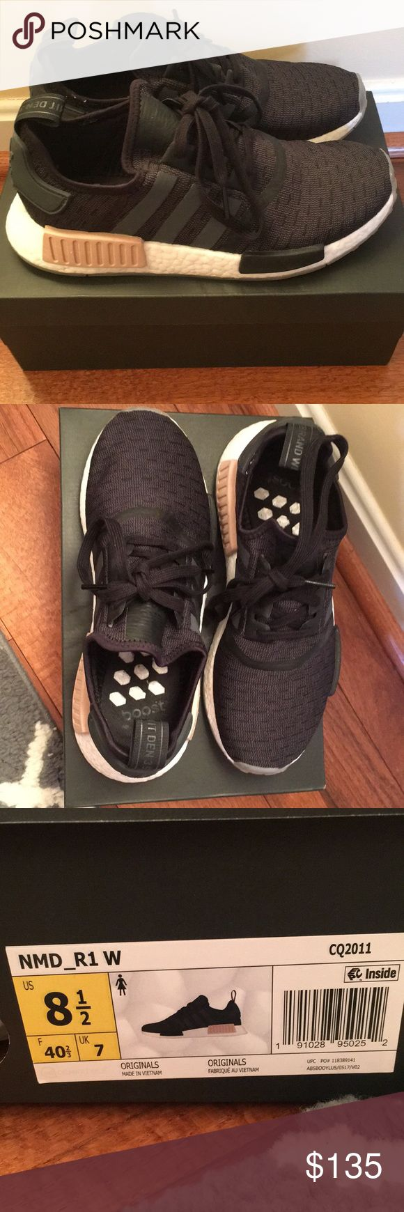 BLACK ADIDAS NMD R1 WOMENS Ordered them online wore only one time and they fit to big for me. I am 8.5 but would've prefer going down one size. They are practically new. adidas Shoes Athletic Shoes
