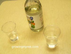 5 senses: guess vinegar/water by sight ... then taste. guess sugar/salt by sight... then taste