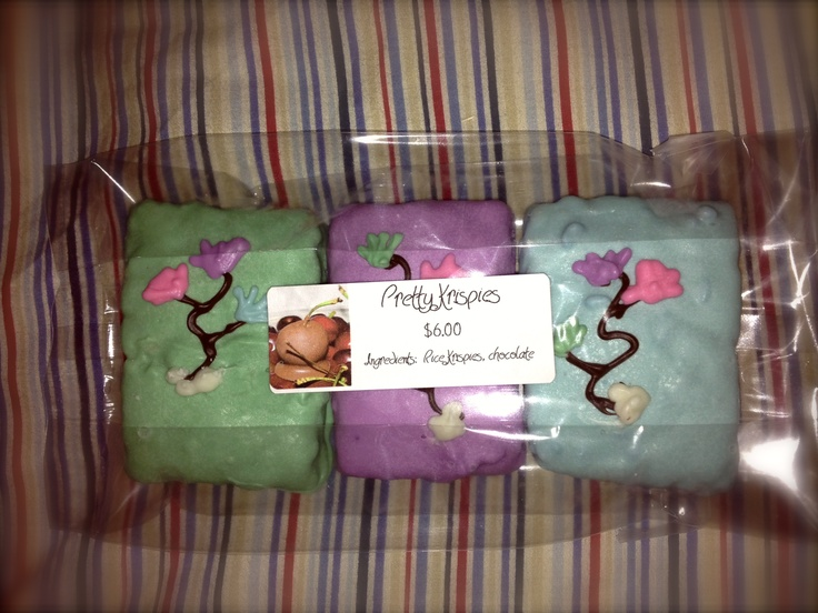 """""""Pretty Krispies""""    Rice Krispie squares, coated in chocolate, with hand-painted designs    $6.00 for package of 3"""