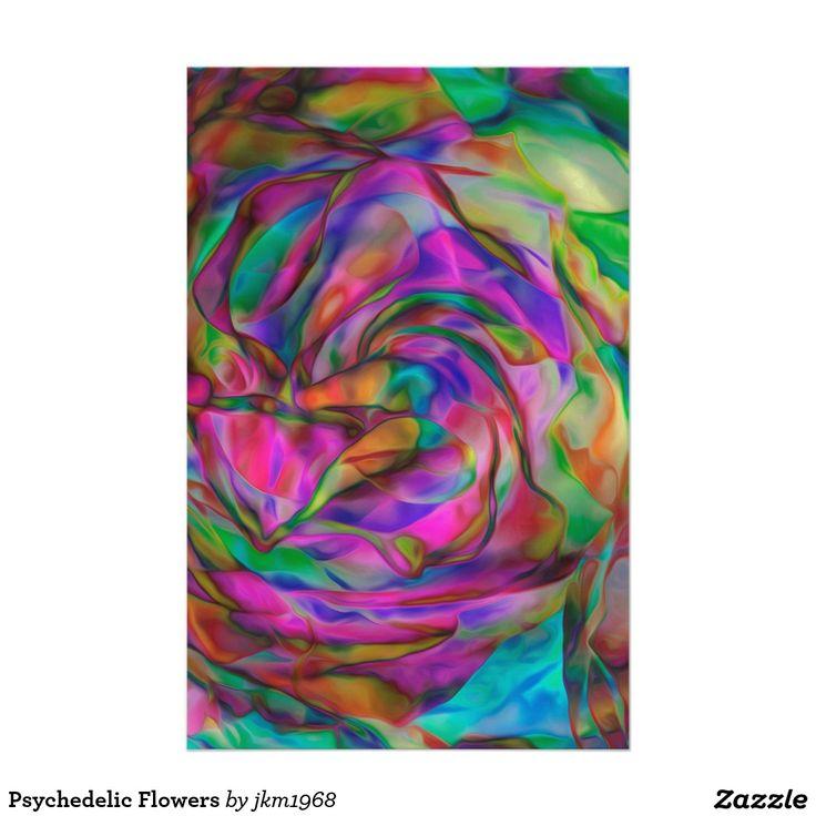 Flores psicodélicas papeleria de diseño