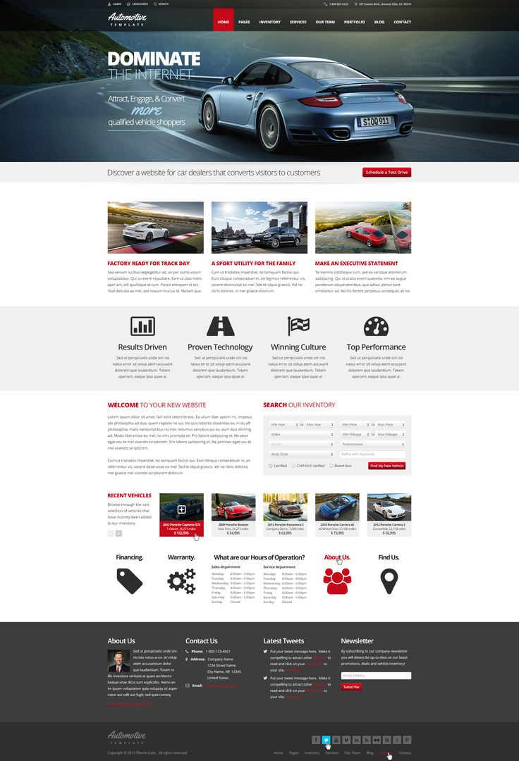 Automotive car dealership business html template site templates