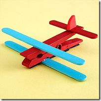 airplane with clothespin and popsicle sticks...could make a build your own airplane kit