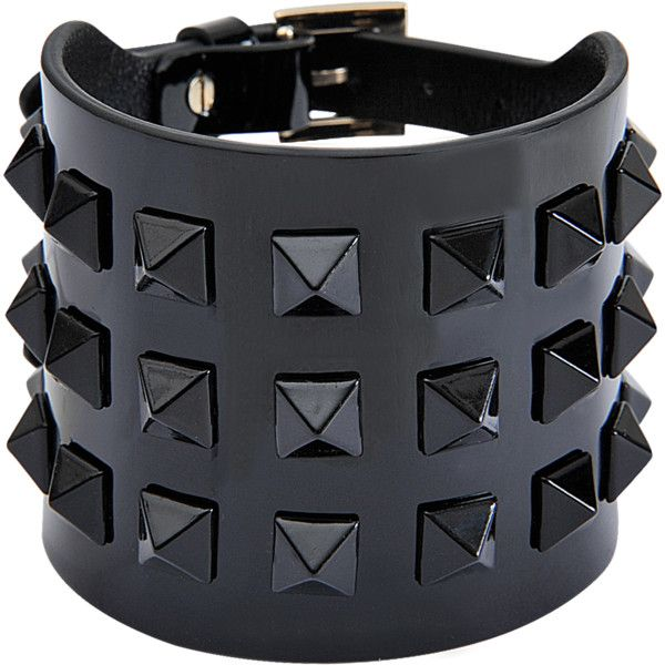 Valentino Rockstuds cuff ($320) ❤ liked on Polyvore featuring jewelry, bracelets, accessories, black jewelry, adjustable leather bracelet, black leather bracelet, cuff bangle and cuff bracelet