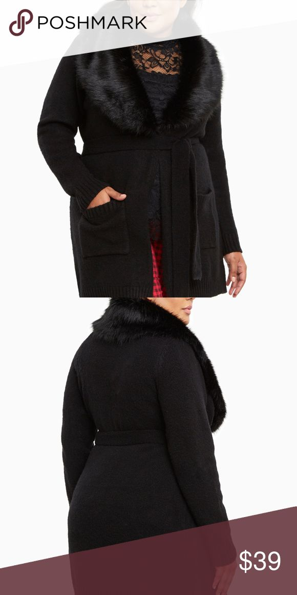 "TORRID FAUX FUR COLLAR SWEATER COAT, NWT A sweater coat so fabulous, people will start thinking you're rich and famous! The plush black knit already has you feeling luxurious, but the black faux fur collar takes your fanciness over the top. A hook closure and tie waist lend figure definition. Price is firm unless bundled.  Model is 5'10"", size 1      Size 1 measures 39"" from shoulder     Acrylic/nylon/spandex/polyester     Wash cold, dry flat     Imported plus size sweater coat torrid…"