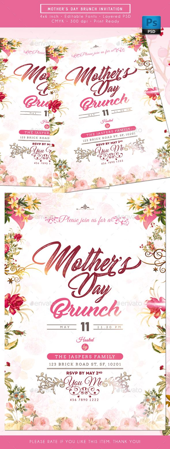 144 best Invitation Card Templates images – Mothers Day Invitation Cards