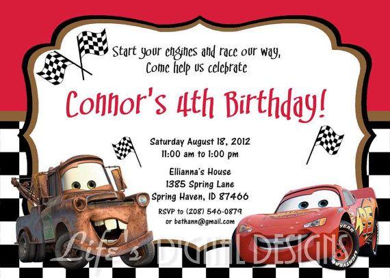 mcqueen birthday invitations