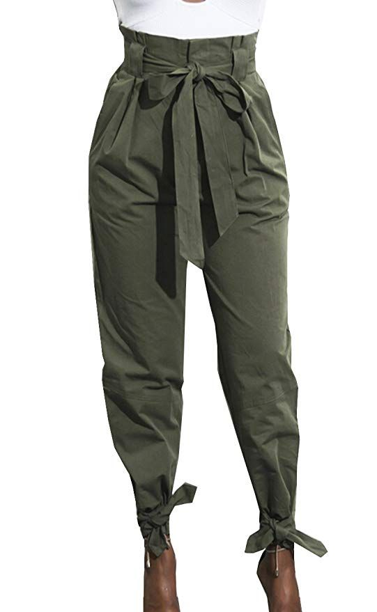 9d95de3e5726 MOMTUESDAYS2 Women s Active Yoga Lounge Sweat Pants with Bow Tie (Army  Green