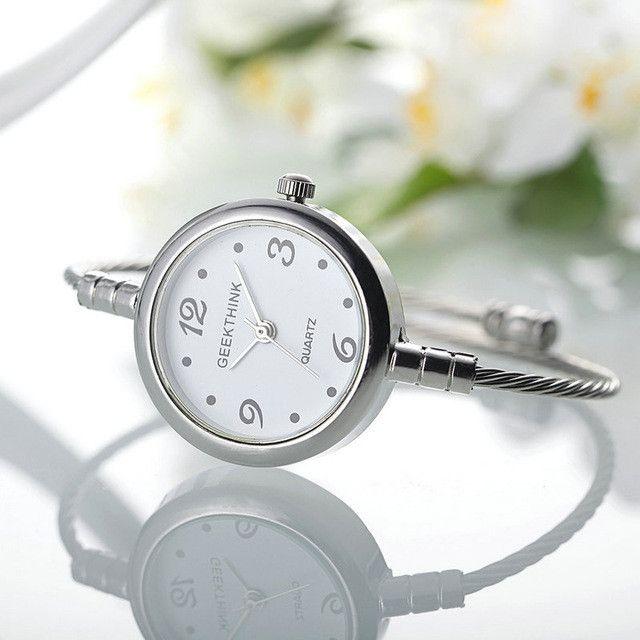 GEEKTHINK Unique Fashion Brand Quartz Watch Women Bracelet Ladies Rose Gold Watch female Simple Ring steel band casual