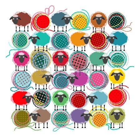 sheep cartoon : Knitting Yarn Balls and Sheep Abstract Square Composition. graphic illustration of brightly