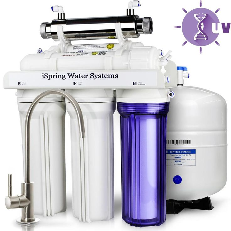 LittleWell WQA Gold Seal 6-Stage 75 GPD Reverse Osmosis Water Filter System with 11-Watt Flow-Sensor UV Sanitation, White