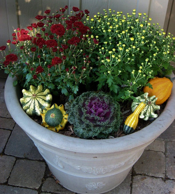 fall flower pots at WillowRidgePrimitives