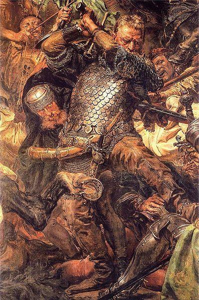 Jan Žižka in a detail of Jan Matejko's Battle of Grunwald. Žižka (c. 1360–1424) was a Czech general and Hussite leader, follower of Jan Hus
