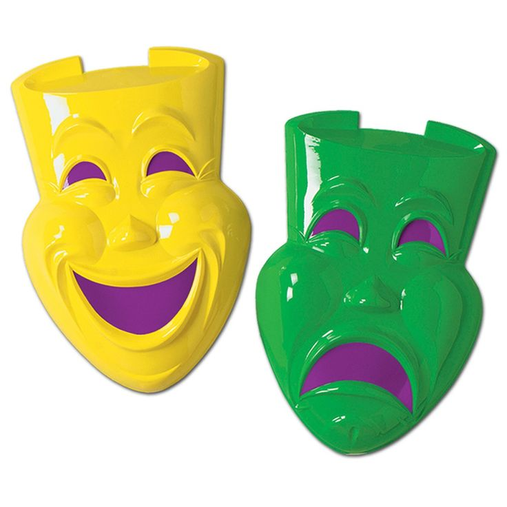Club Pack of 24 Yellow  Green and Purple Comedy & Tragedy Faces Mardi Gras Party Decorations 21″