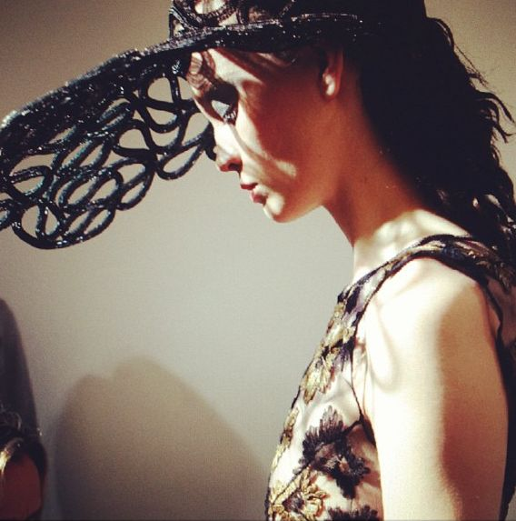 John Rocha SS14 backstage #lfw #ss14 #fashion #model #backstage Photo by Michelle Beaty www.michellebeatty.com