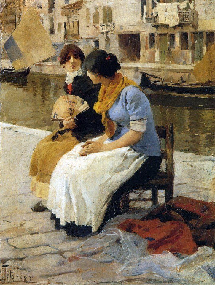 Ettore Tito (1859–1941) Le ciacole, 1883
