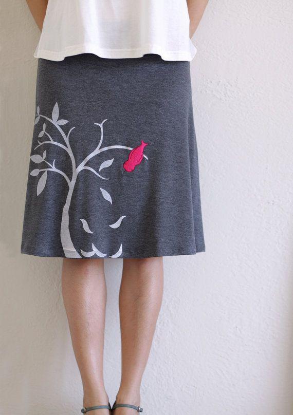 Women gray Aline knee length applique skirt in by Zoeslollipop, $54.00.....Adorable!