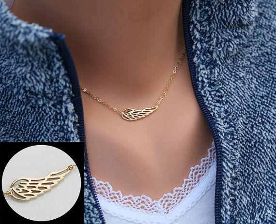 Angel Wing necklace,Gold Wing delicate necklace,Memory wing necklace,Bridesmaid gifts,Everyday jewelry,Wedding bridal Jewelry,friend gift