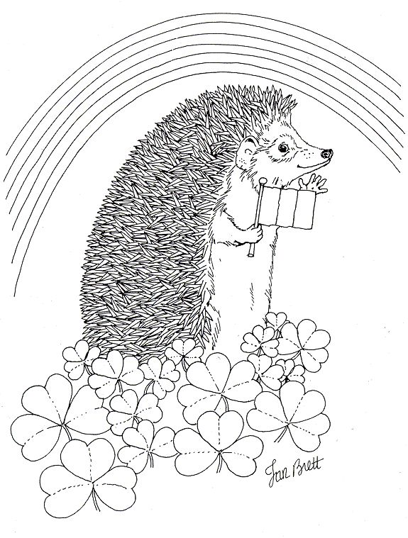 Hedgie Rainbow Coloring Page By Jan Brett