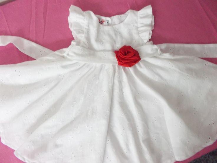 Vestido En Broderi Ideal Bautismo + Chaqueta De 0 A 24 Meses -