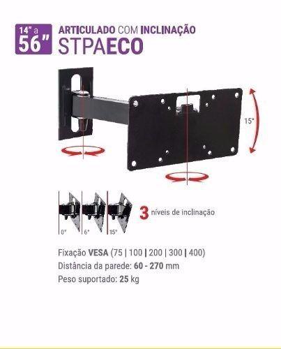Suporte Tv Sony-samsung-lg 19 A 56 Pol. Articulado Stpa Eco - R$ 65,90