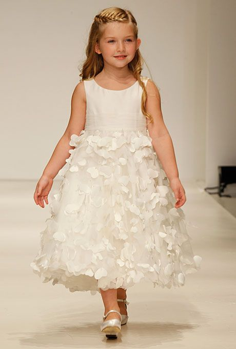"""Brides: Disney Fairy Tale Weddings by Alfred Angelo - Fall 2012. Style 709, """"Rapunzel"""" sleeveless satin and organza A-line flower girl dress with a scoop neckline and petal skirt, Disney Fairy Tale Weddings by Alfred Angelo"""