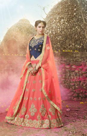 Click On Bazaar Orange Color Banglori Silk, Sattin Lehenga Choli - ClickOnBazar
