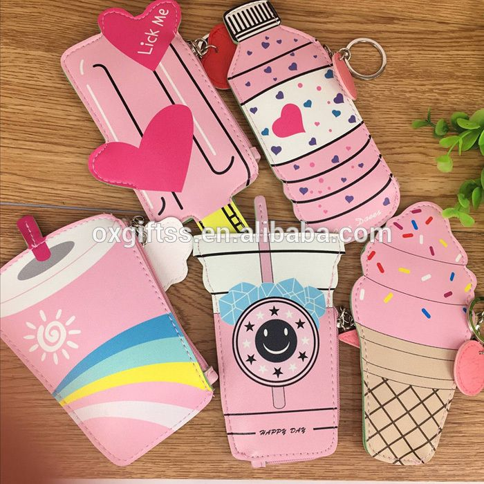 OXGIFT China Supplier Wholesale Manufacturing Factory Price Amazon Ice cream Drink keychain Pu printing Wallet purse