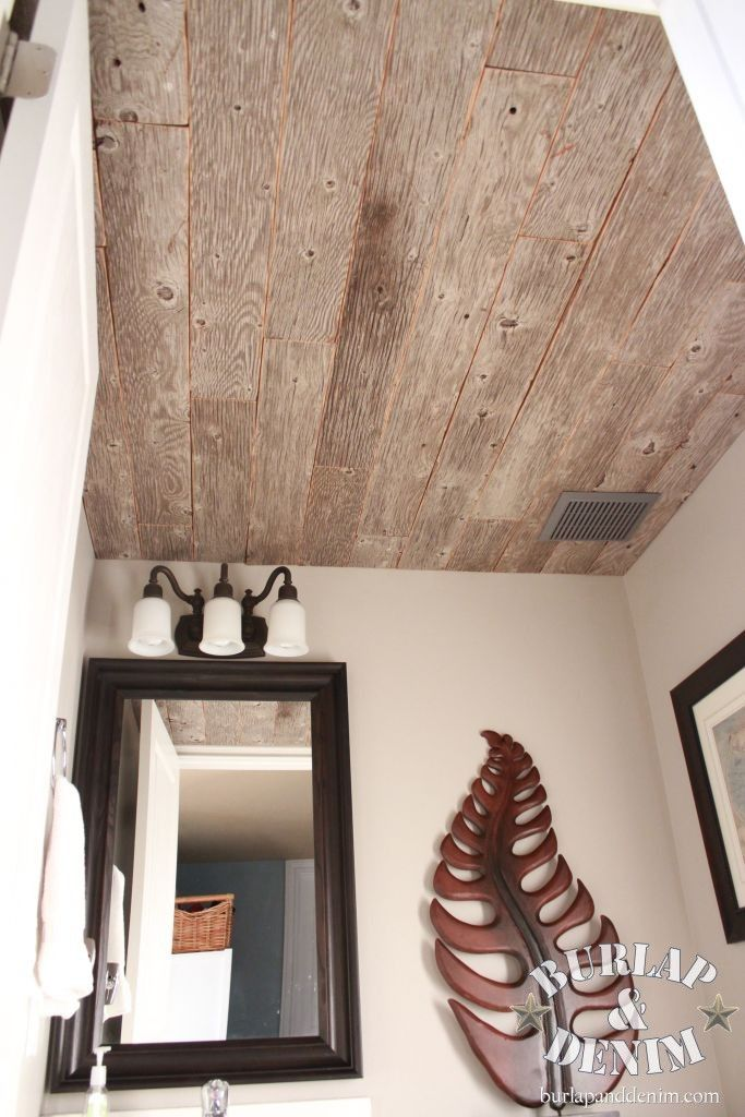cut weathered plywood into strips for the ceiling