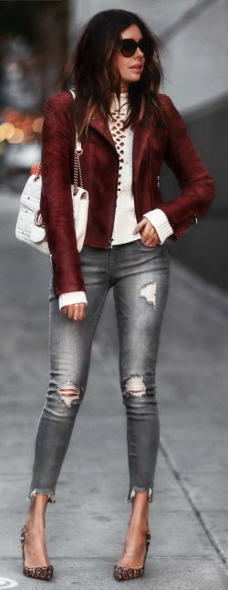 Erica Hoida + hot fall trend + suede jacket + distressed jeans + heels + edgy, casual vibes + Erica    Suede Jacket/Jeans/Sweater: Express, Shoes: Christian Louboutin, Bag: Gucci.