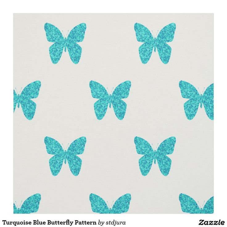 Turquoise Blue Butterfly Pattern Fabric  #zazzle #patternfabric #pattern #fabric #butterfly #blue #turquoise