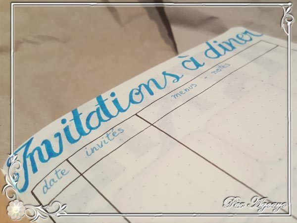 Du côté du Bujo #3 – Gérer ses invitations à dîner | Blog Agoaye