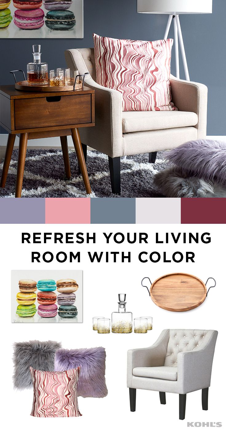 Update your living room cozy corner with pops of fun colors featured product includes