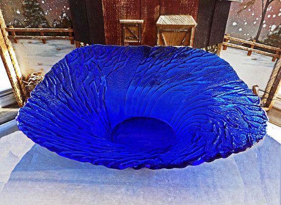 Vintage Pertti Kallioinen Metsa  (Forest) Large Cobalt Glass Serving Bowl by Lasisepät Mäntsälä  $42.00 at Etsy