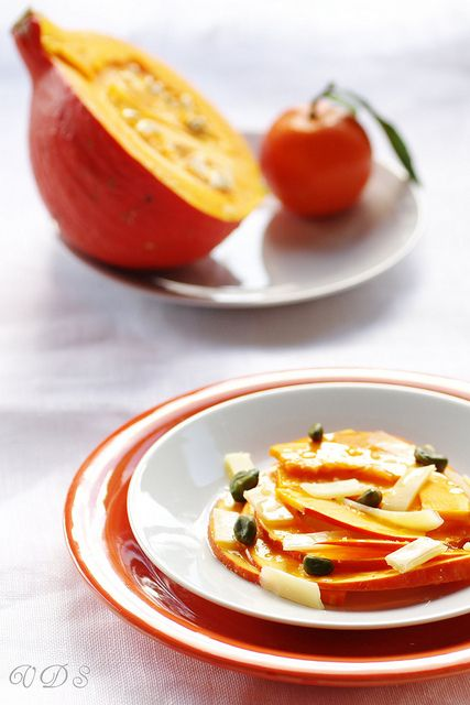 Pumpkin salad with cheese and clementine