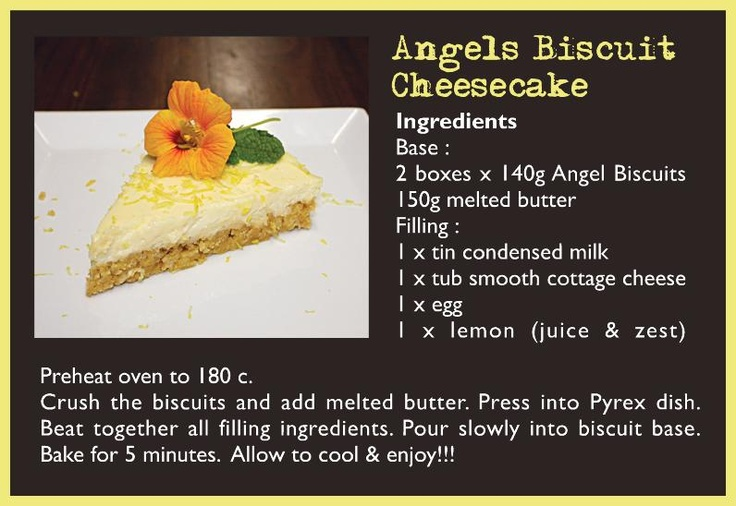 A heavenly cheescake made with Wedgewood Nougat Angels biscuits base - out of this world!