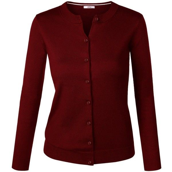 Sweater Cardigan for Women Crew Neck, V Neck Cotton Long Sleeve Button... (200 EGP) ❤ liked on Polyvore featuring tops, cardigans, long sleeve v neck cardigan, red v neck cardigan, button cardigan, long sleeve tops and v-neck cardigan