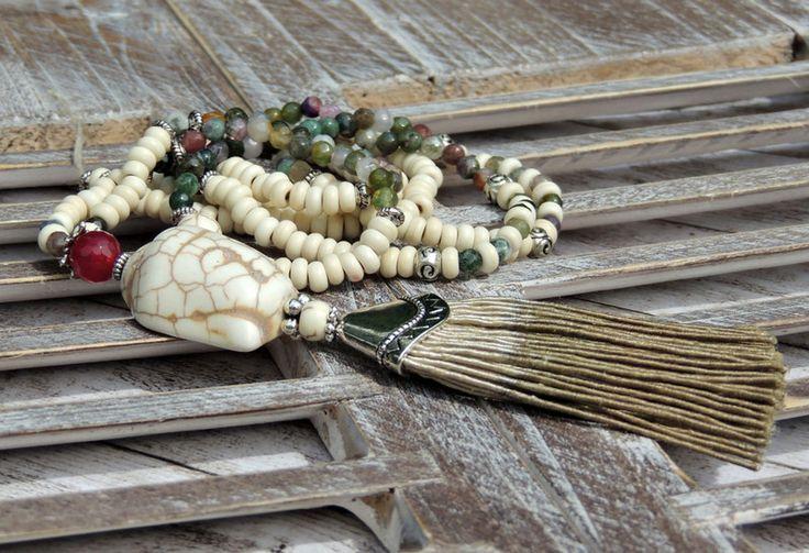 Ketten lang - Lange Kette - ACHAT - HOWLITH - BUDDHA - QUASTE - - ein Designerstück von Kunterbuntes-Perlenspiel bei DaWanda