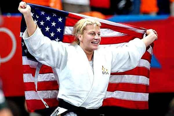 American Kayla Harrison celebrates after winning the women's judo 78-kg division during the first week of the London Olympics. (Laurence Griffiths / Getty Images / August 2, 2012)