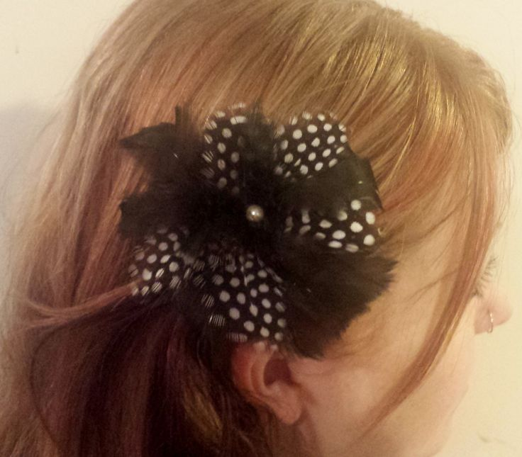 Beautiful Little Black And White Speckled Feather Flower Fascinator Hairpiece by PeachesPlumageWorks on Etsy