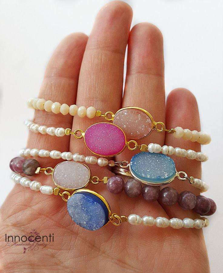 Druzy Bracelet Druzy Beaded Bracelet Druzy Stacking Bracelet Pink Druzy Blue Druzy 14K Gold Druzy Boho Druzy Bracelet Geode Druzy Jewelry by INNOCENTIJEWELRY on Etsy