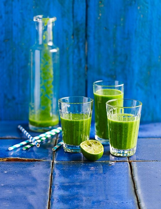 Drink this healthy green smoothie in the morning for a quick, nutrient-packed pick-me-up. Cucumber, spinach, lime and kiwi are a great combination and the avocado adds a lovely texture.