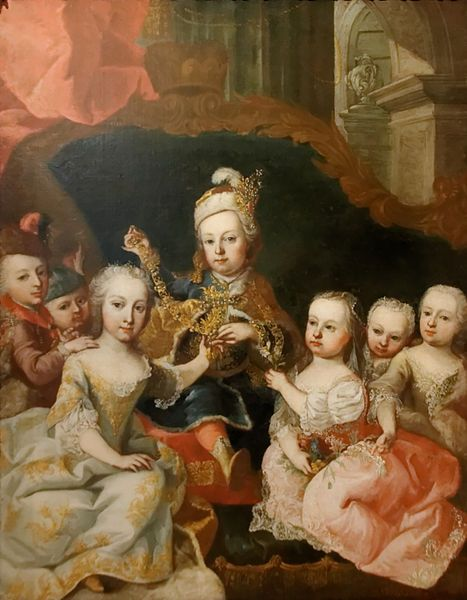 Martin van Meytens (1695–1770)   The children of Marie Therese of Austria (Joseph II Holy Roman Emperor and his sisters and brothers) circa 1750 The girls are wearing miniature robe de cour