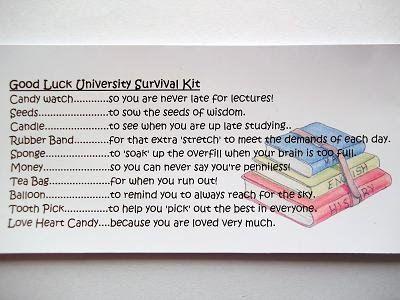 GOOD LUCK UNIVERSITY STUDENT SURVIVAL KIT GIFT / CARD | eBay