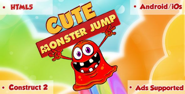 Cute Monster Jump - HTML5 Game . Cute Monster Jump is jumping game where you need to jump and collect as much as coin you can.With colourful graphics, cute sounds and addictive game play you will get some powers also like banana and apple to go high and make your own high score. This game is build by Construct 2 Game Engine (Capx