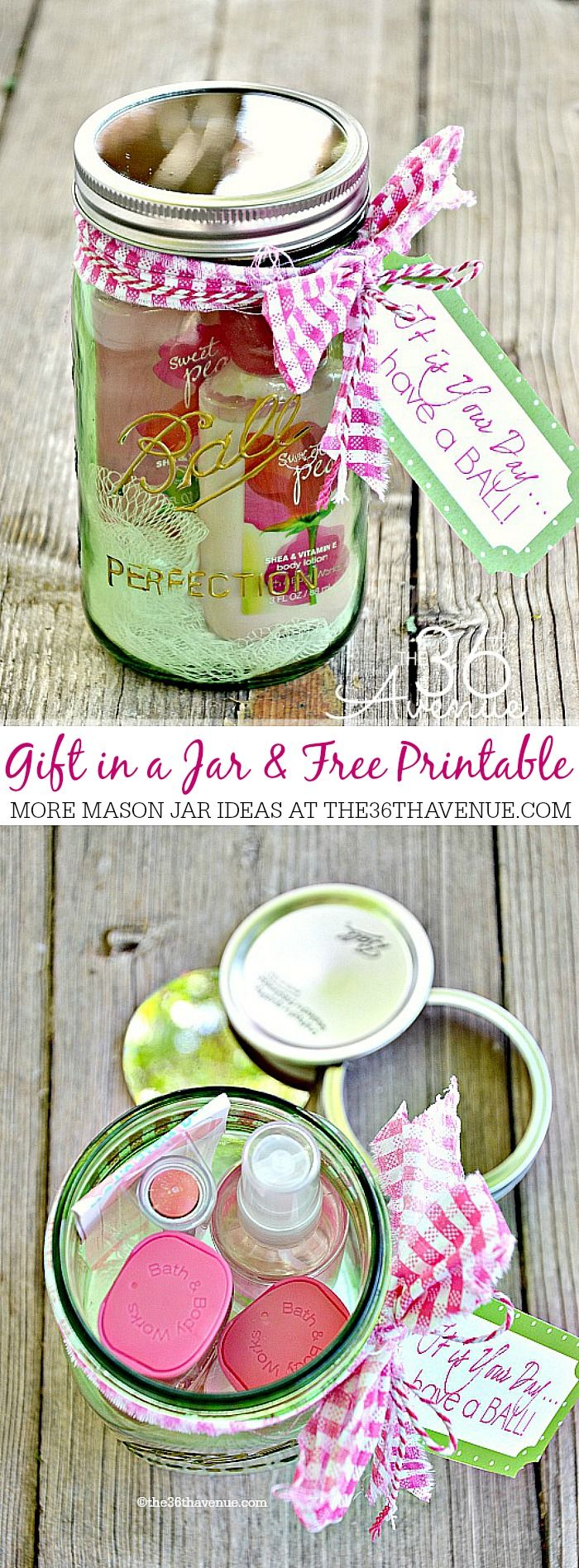 Gift in a Jar and Free Printable! Cute Mother's day gift idea!