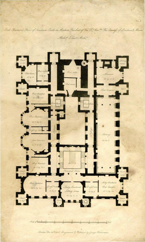 177 best architecture plans images on pinterest architecture architect s plan of loudoun castle 1805 1st floor
